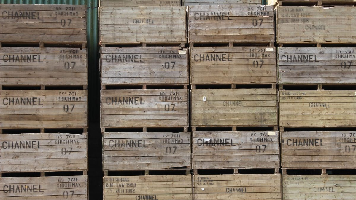 Wooden crates used to deliver our vegetables to market