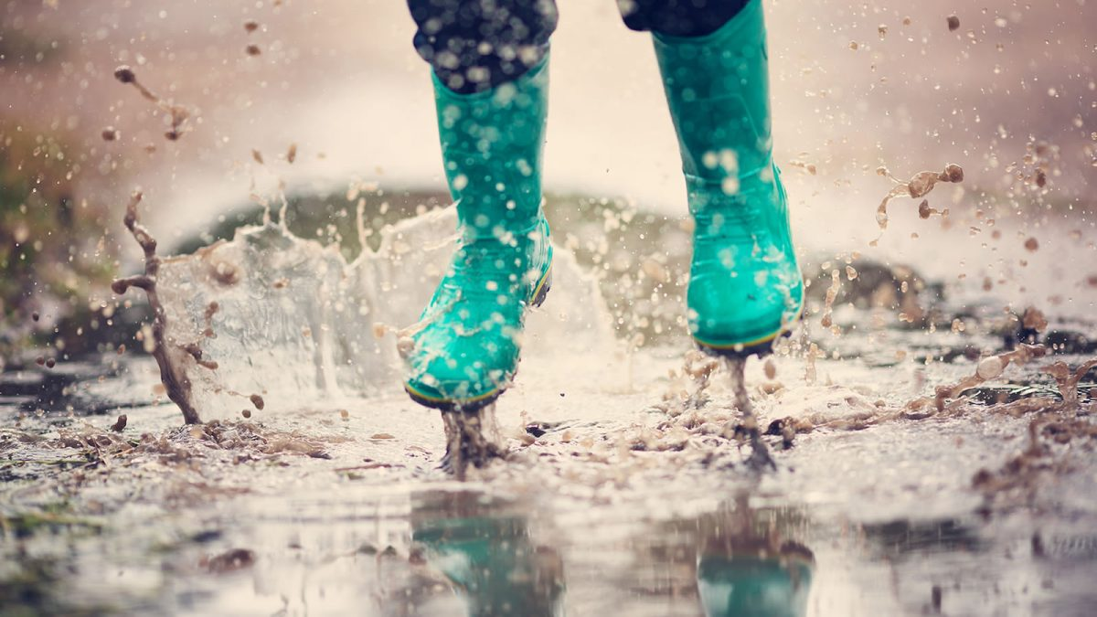 Welly boots and a puddle - outdoors at Loch Leven's Larder