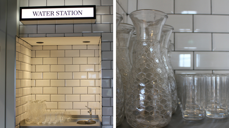 The water station in our Greenhouse Cafe