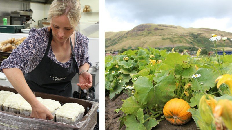Emma baking bread; pumpkins growing in the fields at Channel Farm