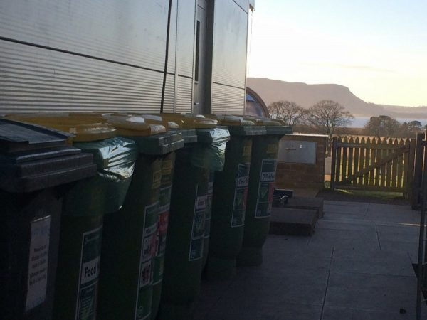 Recycling bins at the Larder